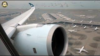 Cathay A350 Takeoff, STUNNING Hongkong airport views, wing and engine condensation!!! [AirClips]