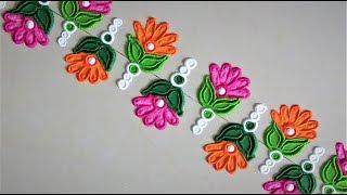 Super Easy and Quick Border Rangoli Designs| Creative Rangoli Designs by Shital Mahajan.