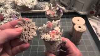 Shabby Chic Altered Spools for Wild Orchid Crafts - project share!