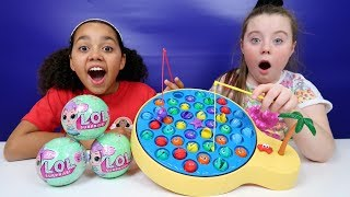 Giant Lets Go Fishing Game | Surprise Toy Challenge | LOL Surprise Dolls