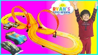 Download GIANT HOT WHEELS Electric Slot Car Track Set RC Remote Control Racing Toy Cars for Kids Egg Surprise 3Gp Mp4
