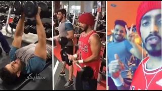 طارق الحربي يطقطق على صديقه المجسم وهو يمارس الرياضه 😂😂
