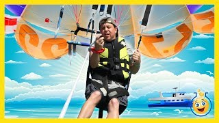 Parasailing Family Fun Amusement w/ Aaron & LB at Resort Park Outdoor Water Activity Video for Kids