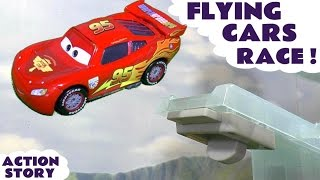 Disney Cars Toys Flying Race with Spiderman Iron Man Minions Captain America & TMNT Kids Toy