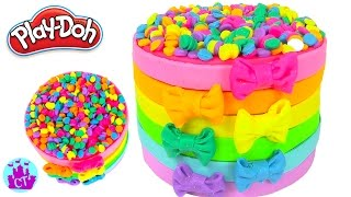 How to Make Play Doh Cake Rainbow and Tie Play-Doh Rainbow Learning Diy Castle Toys
