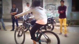 Shahtaj Monira Hashem is learning cycle ride for the drama   Poetry Of Souls