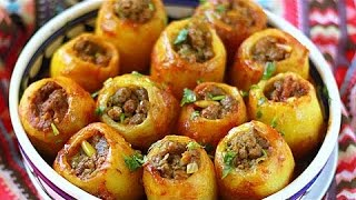 عمل بطاطس محشية لحمة مفرومة لذيذة جدا وسهلة التحضير