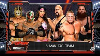 Rey Mysterio & Nikki Bella And Kalisto VS Brock Lesnar & Big Show And Braun Strowman (WWE 2K16 Mods)