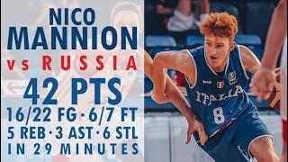 Nico Mannion - Highlights - 2017 U16 European Championship vs Russia - 42 Pts, 5 Reb, 3 Ast, 6 Stl!