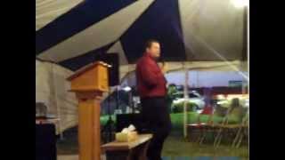 Bro. Roy Reynolds preaching in selmer Tn Tent revival July 2012