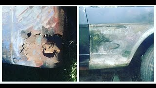 easy rust repair, patching rusty doors, fender rust holes in muscle cars for cheap