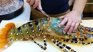 Japanese Street Food - $600 GIANT RAINBOW LOBSTER Sashimi Japan Seafood