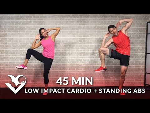 45 Min Standing Abs & Low Impact Cardio Workout for Beginners Home Ab & Beginner Workout Routine