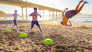 INSANE EXERCISE BALL TRICKS AT THE BEACH!