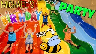 Super Bee Friend Fun!!  Michael's 4th Birthday at a HUGE Indoor Play Center!