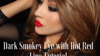 Dark Smokey Eye with Hot Red Lips Tutorial