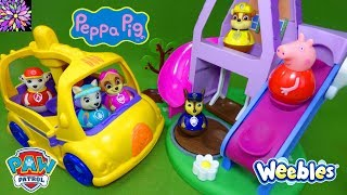 Paw Patrol Toys Peppa Pig Toys Weebles Toy Stories for Kids School Bus Wind & Wobble House Episode!