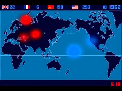 A Time Lapse Map of Every Nuclear Explosion Since 1945 by Isao Hashimoto