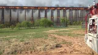 Rail Road bridge fire Colorado River in Lampasas County Texas