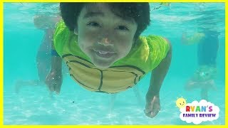 Kids Playtime at the Pool and Water Slide! Family Fun Vacation at  Resort Hotel