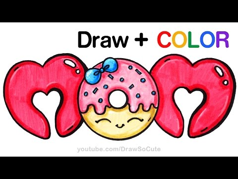 Xxx Mp4 How To Draw Color MOM Bubble Letters With Donut Step By Step Cute 3gp Sex