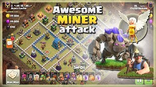 Th12 Awesome MINER Army: 26 Miners 1 Golem 5 Healers | TH12 War Strategy #50 | COC 2018 |