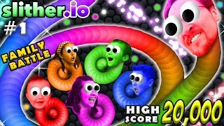 SLITHER.IO #1: 6 Player FGTEEV Family Battle!  20k High Score Snake!  (Worms Grow Up Fast!)