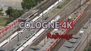 Ultra HD 4K Cologne Travel Germany Tourism Railways Trains Railroad Vehicles UHD Video Stock Footage