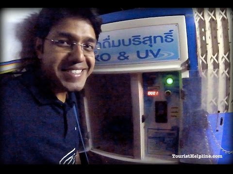 Drinking water almost for free in Thailand 1 litre 1 Baht 2 Indian Rupees