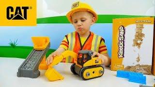 Строительные и Рабочие Машинки CAT Caterpillar - Поезд с железной дорогой и Экскаватор с Погрузчиком