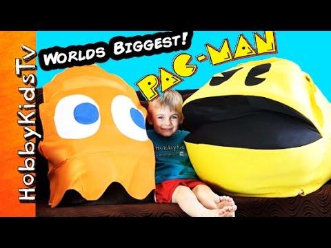 Worlds Biggest PAC MAN Egg Surprise Toys Video Game Clyde Retro HobbyKidsTV