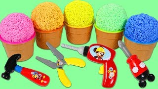 Pretend Play Foam Ice Cream Surprise Toys Opening with Disney Mickey Mouse Tools!