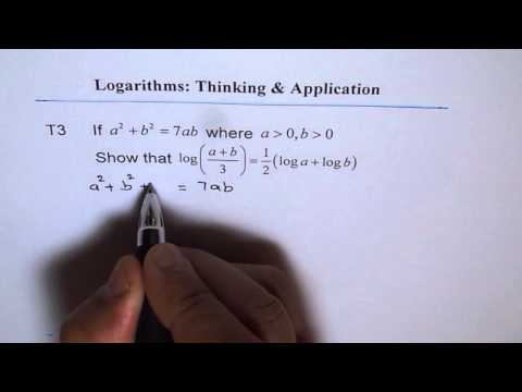 Prove Logarithmic Identity by Perfect Squares T3