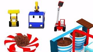 The Chocolate Factory  - Learn with Tiny Trucks : bulldozer, crane, excavator | Educational cartoon