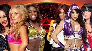 WWE Raw - Brie Bella, Natalya, Naomi vs Layla, Alicia Fox, Aksana (AJ on Commentary) - FULL MATCH HD