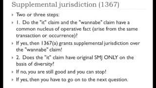 Supplemental jurisdiction under 1367