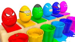 Learn COLORS Surprise Eggs for Kids - Spiderman Cars Educational Video - Bus Superheroes for Babies