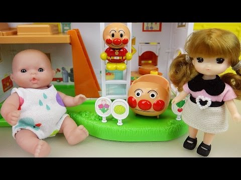 Baby Doll Annpan Man car and two story house toys