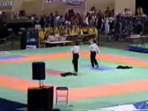 Taekwondo siblings performing 3 Blues Brothers style