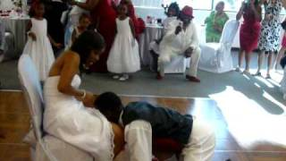 How a groom should get the Garter Belt from his new Bride.