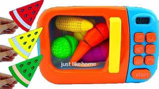 Learn Colors for Children Wooden toys Fruit Cutting Microwave Just Like Home