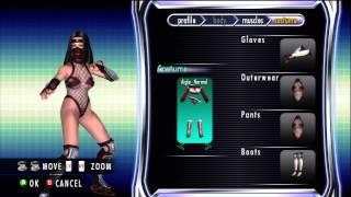 Rumble Roses Benikage's costume vs Benikage's DLC costume.
