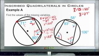 Inscribed Quadrilaterals in Circles: Examples (Basic Geometry Concepts)