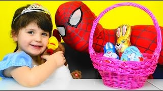 Fun  playroom with a sweet princess Spiderman surprise eggs bunny and chicken