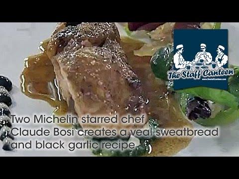 Two Michelin starred chef  Claude Bosi creates a veal sweatbread and black garlic recipe