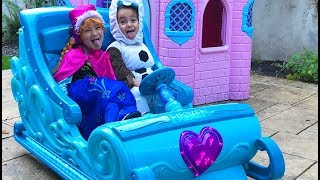 Disney Frozen Sleigh Ride On Princess Castle Surprise Power Wheels Elsa Anna