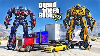 OPTIMUS PRIME VS BUMBLEBEE - ULTIMATE GTA 5 TRANSFORMERS MOD !!!