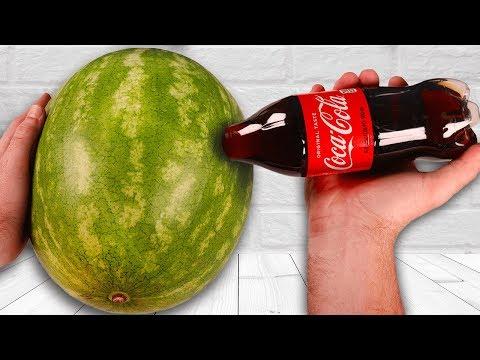 CRAZY Watermelon Coca Cola Tricks