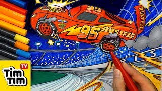 How to draw CARS 3 LIGHTNING McQUEEN CRASH SCENE | Easy step-by-step for kids | Art colors