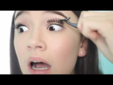 First Time Putting FAKE Eyelashes On! + Tips | Fiona Frills